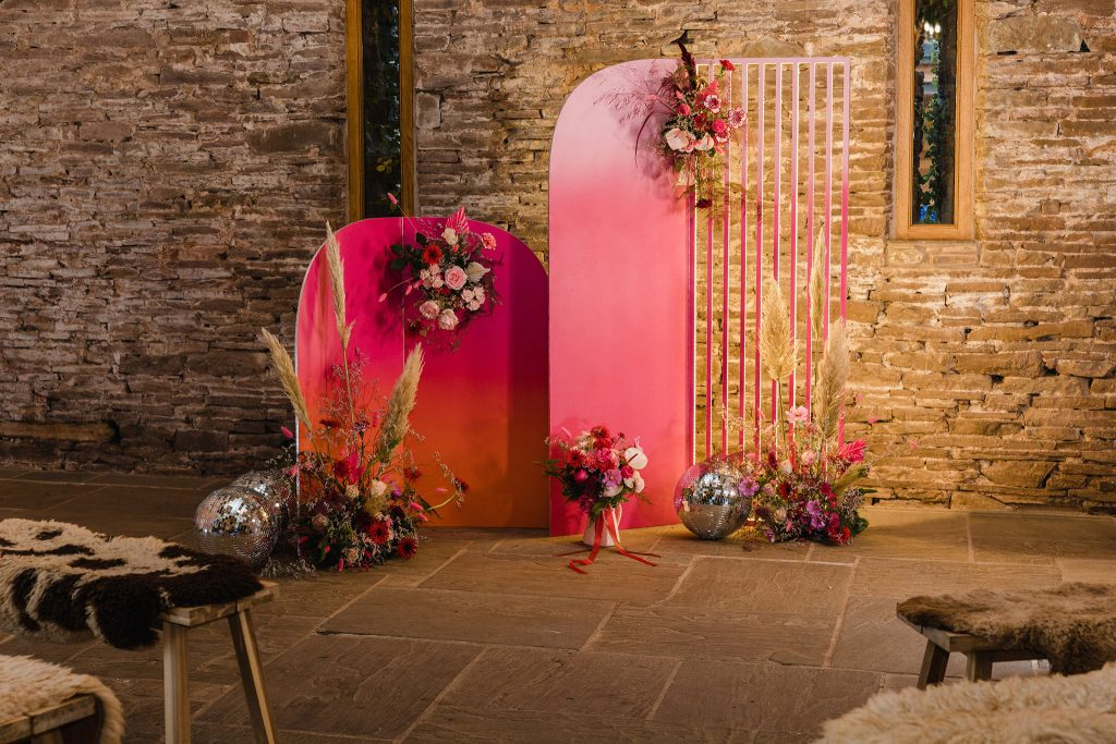 Mordern colourful backdrop to hire wedding